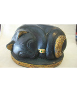 HAND CARVED WOODEN SLEEPING BLACK CAT FIGURINE MADE IN THAILAND - $111.37