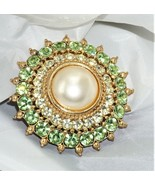 Round Faux Pearl Light Green & Clear Rhinestone Brooch Vintage Gold Tone - $11.24