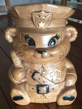 Vtg Twin Winton Brown Bear Police Chief Cookie Jar Made In Usa 60's Kitc... - $47.64