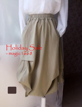 Khaki Linen Ankle Length Skirt Loose Elastic Waist Boho LINEN COTTON SKIRTS NWT image 6