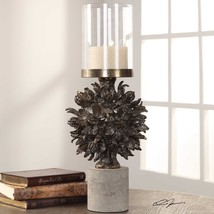 "Xxl 20"" Cast Hawaiian Tree Pod Pillar Candle Holder Concrete Base Glass Globe - $187.00"