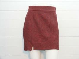 H&M Skirt Burnt Red / Black Tweed Wool Blend LINED Knee Length Sz 8 -W28... - $16.71