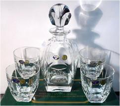 NIB BOHEMIA 24% Lead Crystal FJORD 5pc. Decanter Set, Raven Crest Golf Club - $87.67
