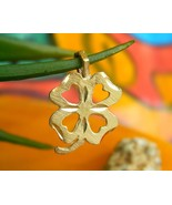 Vintage 14K Yellow Gold 4 Leaf Clover Diamond Cut Lucky Pendant Charm - $34.95