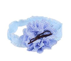 Creative Blue Plaid Daisy Girl Headdress Lace Headband Baby Accessories
