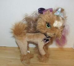 Tini Puppini Plush Dog  Toffee tan purple hair streaks green purple bows - $4.99