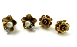 Vintage Earrings Lot of 2 small Flower Gold Tone Stud Monet Avon Rhinestone - $12.86