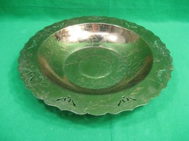 Vintage Embossed Round Copper Metal 10 Inch Serving Bowl-Tray - $13.06
