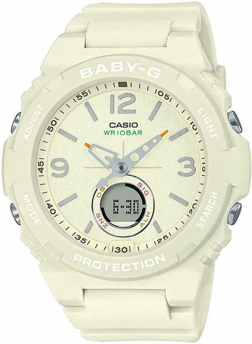 NEW BABY-G BGA260-7A VINTAGE OUTDOOR COLOR WHITE ANA-DIGITAL LADIES WATCH