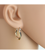 Twisted Tri-Color Silver, Gold & Rose Tone Hoop Earrings- United Elegance - $12.99