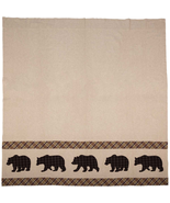 Wyatt bear shower curtain khaki chambray plaid bears  - $68.00