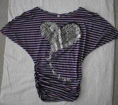 Mi Manchi Girl's Purple and Gray Striped Shirt - $5.00