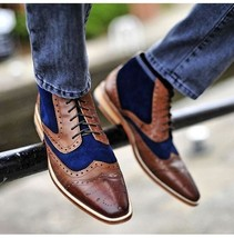 Stylish Men Two Tone Wingtip Brogue Ankle shoes Men Brown And Navy Casual boots - $149.99+