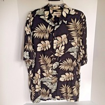 Campia Mens Large Black Hawaiian Shirt with Beige and Green Leaves - $15.41