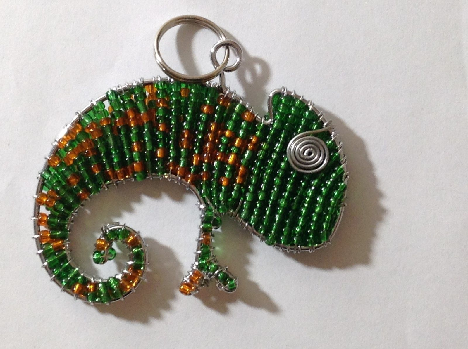 NEW Hand Beaded Green and Orange Chameleon Key Chain