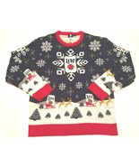 Miller Lite Adult Unisex Blue Snow Reindeers Ugly Christmas Pullover Swe... - $39.59