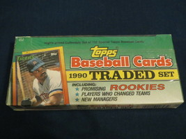 TOPPS 1990 BASEBALL CARD TRADED COMPLETE 132 CARD FULL SET INCLUDING ROO... - $9.99