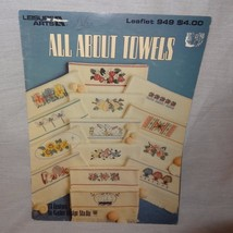 All About Towels Cross Stitch Pattern Booklet #949 1990  29 Designs Flowers Bugs - $7.99
