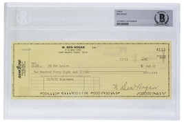 Ben Hogan Signed Personal Check #4110 12/15/1992 Slabbed BAS - $277.19
