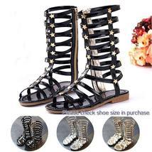 Summer Girls High Rivets Fashion Kids Cutout Sandals Zip Gladiator Sandals 3 col