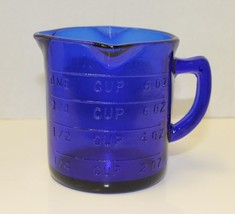 New Cobalt Blue Measuring Cup 3 Spout Retro Depression Glass Style - $10.00