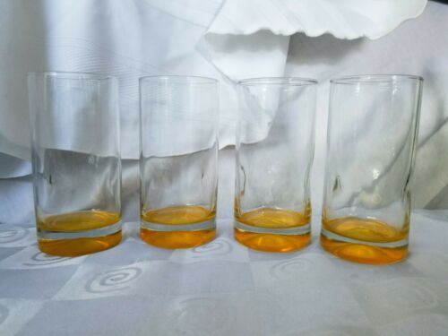 Primary image for Crisa Impressions Yellow Gold Base Highball Glasses By Libbey Set Of 4