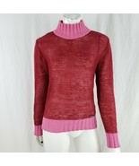 Ted Baker Mohair Blend Sweater Women Small Mock Neck Thin Pullover Red Pink - $44.75
