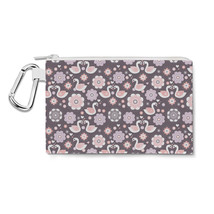 Romantic Swans & Flowers Canvas Zip Pouch - $15.99+