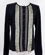 CAbi Black Tuxedo Fringe Cashmere Cotton Cardigan Sweater Medium Broadwa... - $20.50