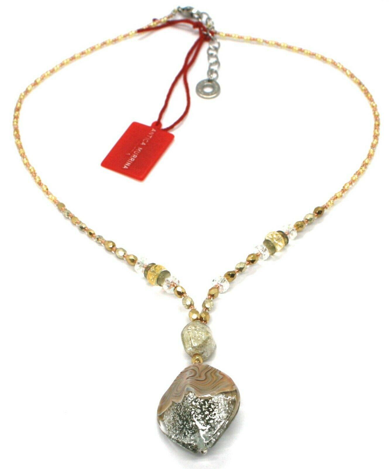 Necklace Antica Murrina Venezia, 45 cm, CO863A10, Pendant White Glitter Stripe