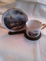 Thomas Kinkade Moonlight Cottage Cup and Saucer with Plastic Stand EUC N... - $18.69