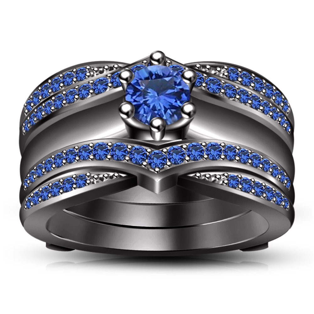 Primary image for 14k Black Gold Plated 925 Sterling Silver Wrap Wedding Ring Set & Free Shipping