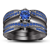 14k Black Gold Plated 925 Sterling Silver Wrap Wedding Ring Set & Free Shipping - $133.29
