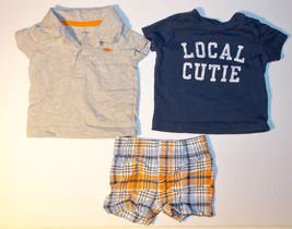 Carter's Infant Boys 3 Piece Set T-Shirts and Shorts Size 3M EUC - $9.45