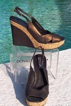 Pliner Mid New Leather Wedge Cork 275 Sole Shoe Donald Metallic NIB Couture HBABqf