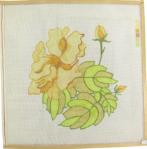 1970's Hand Painted Needlepoint Yellow Flowers Bed of Glorious Leaves 12C - $33.30