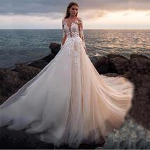 Illusive Lace V- Neck Long Sleeve Wedding Dress Button Backless Lace Ball Weddin