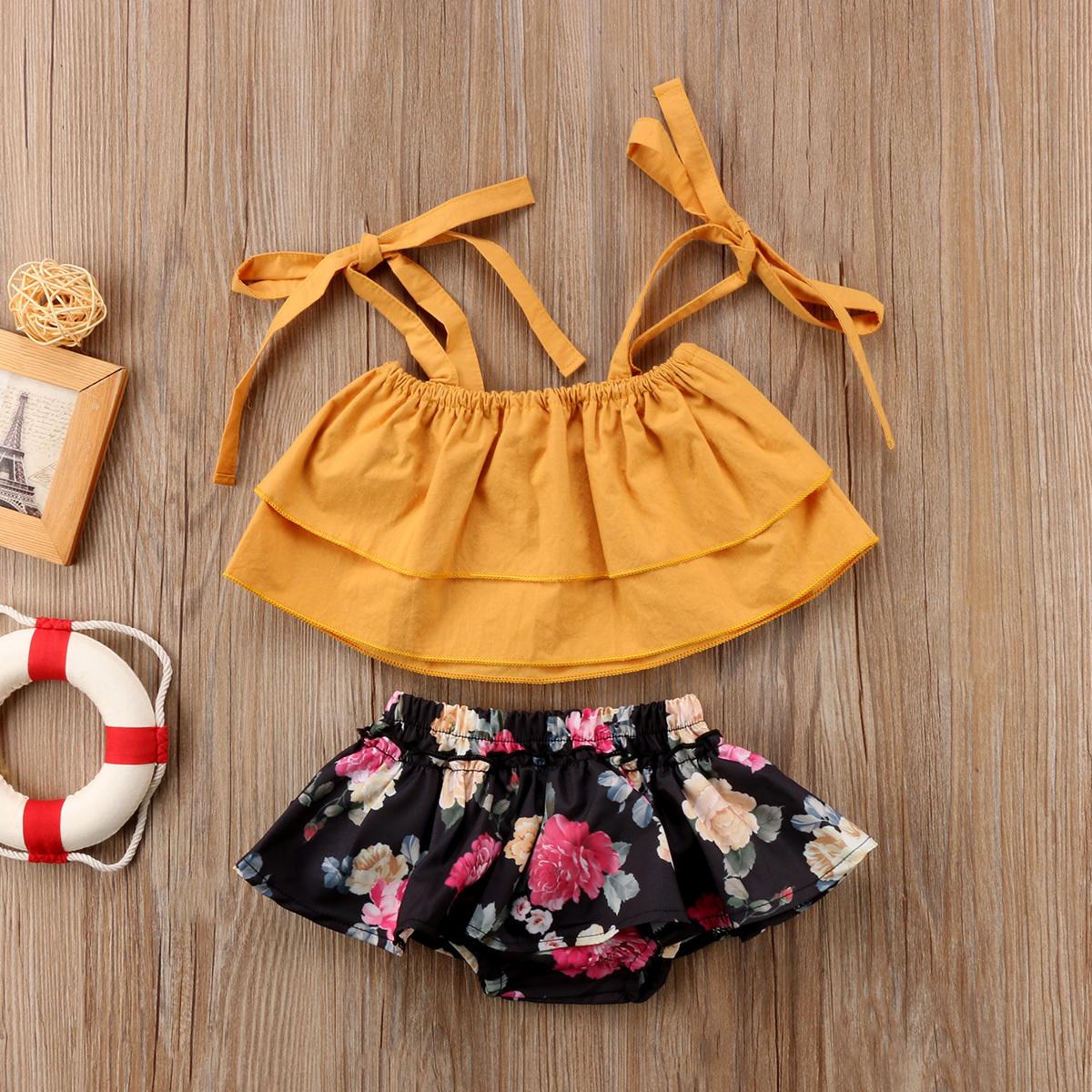 Summer Toddler Baby Kids Girls Sister Clothes Sets Strap Tops Sleeveless Vest Fl image 6