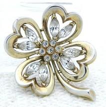 VTG TRIFARI PAT PEND Alfred Philippe Clear Rhinestone Clover Leaf Pin Br... - $99.00