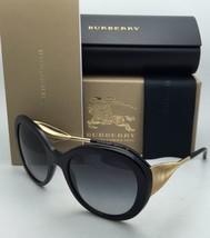Nuovo Burberry Occhiali da Sole B 4191 3001/8G 57-21 Nero & Oro Frame W/Grigio