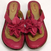 Born Hot Pink Leather Platform Thong Sandals Hibiscus Flower Accent Women's 8/39 - $79.11