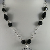 .925 SILVER RHODIUM NECKLACE, 16,54 In, HAMMERED DISC PENDANT, BLACK ONYX. image 2