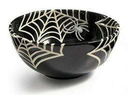 """Large 11' x 5"""" Martha Stewart Halloween Black Stoneware Spiderweb Treat Bowl NEW"""