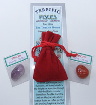PISCES - Bookmark & Birthstones - plus a Red Velvet pouch and my book 'A... - £3.02 GBP