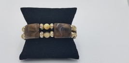Brown Smoky Color Stretch Bracelet With Gold Tone & Cream Color Beads Fashion - $7.68