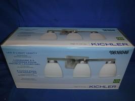 Kichler LED 3-Light Vanity Satin Nickel White Glass Shades #0616046 Bran... - $54.44