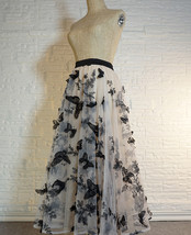 Black Champagne Tulle Skirt Evening Maxi Skirt Tulle Prom Skirt Plus Size image 2