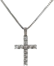 Men Clear CZ Cross and White Gold Tone and chain 24' GN768-white gold - $85.68