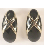 1980s Black Enamel and Silver Colored Metal Pierced Earrings in a Curved... - $12.75