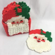 Vintage Santa Claus Plastic Canvas Coasters Finished Completed Christmas... - $14.80